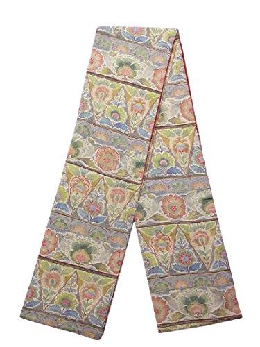 愛する突っ込むアッパーリサイクル 全通 袋帯 未仕立て 縮緬 唐花の装飾文様 正絹