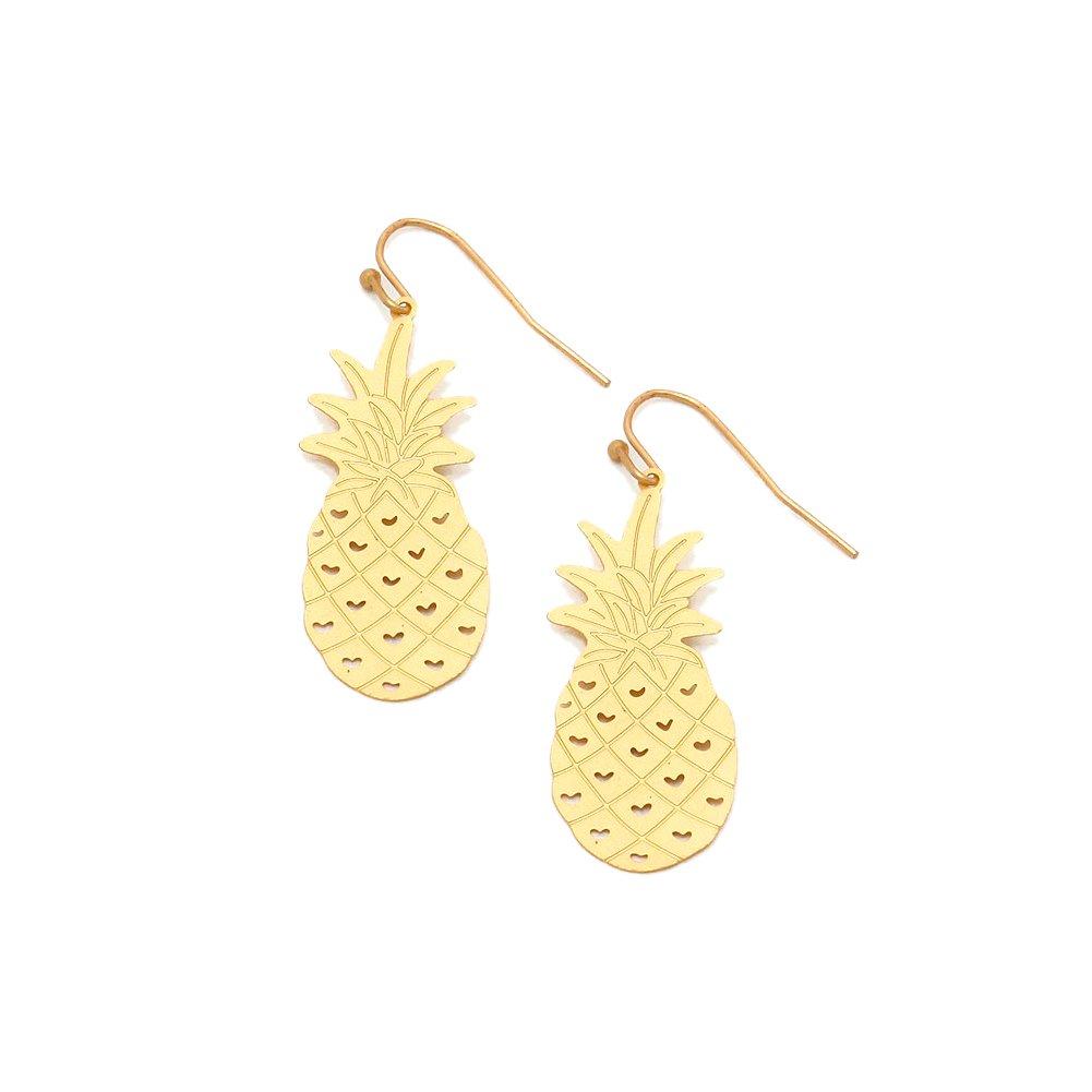 Feather-Light Golden Pineapple Drop Earrings [Island Style]
