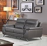 Cortesi Home Chicago Genuine Leather Loveseat, Grey