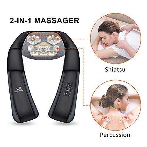 SNAILAX Percussion Shiatsu Neck Massager – Back Shoulder Massager with Heat, Massage Pillow for Neck and Back, Best Gift for Men,Woman,Mom,Dad