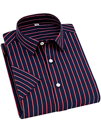 DOKKIA Men's Casual Short Sleeve Vertical Striped Button Down Dress Shirts (Navy Blue Red, Large) ()