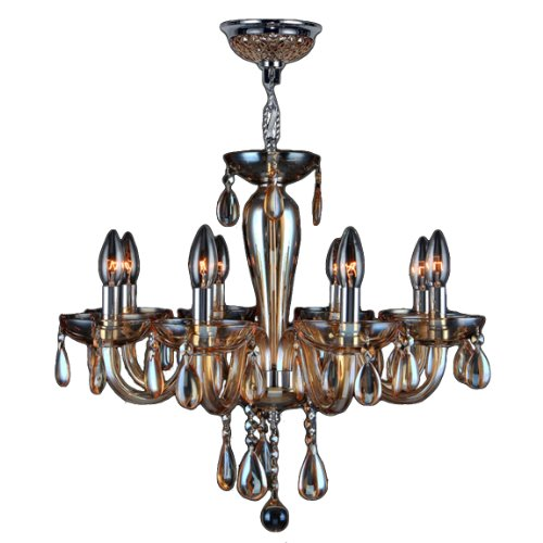 Worldwide Lighting Gatsby Collection 8 Light Chrome Finish and Amber Blown Glass Chandelier 22