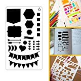12 Pack Bullet Journal Stencil Plastic Planner DIY Drawing Template