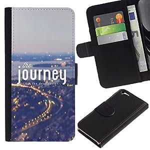 Planetar® Modelo colorido cuero carpeta tirón caso cubierta piel Holster Funda protección Para Apple Apple (4.7 inches!!!) iPhone 6 / 6S ( Viaje Niebla Azul Luces de la ciudad Viajar )
