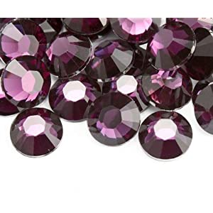 Beading Station BSI 500-Piece Flat Back Brilliant 14-Cut Round Rhinestones, 5mm-20ss, Grape Purple