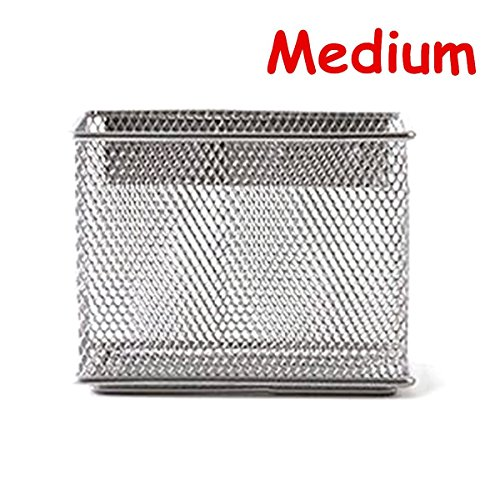 (Caveen Magnetic Storage Basket Wire Mesh Tray Caddy Storage Organizer Container for Refrigerator Whiteboard M)