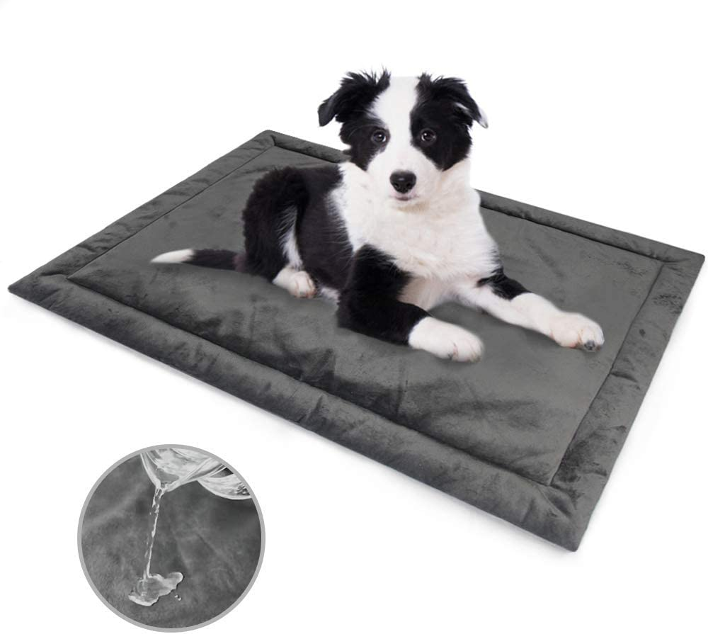Allisandro Water-Proof Dog Bed, Washable Mat Crate Pad, Durable Pet Beds Soft Dog Mattress, Anti-Slip Kennel Pads for Dogs, Cats and Small Animal, Grey
