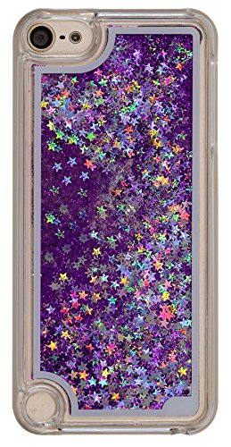 Ipod 5th 6th Generation Case Liquid Quicksand Bling Twinkle Star Design, Touch 5 6 Case Waterfall Floating Adorable Floating Moving Shine Glitter Quicksand Hard Case for Touch5 Touch 6 Purple
