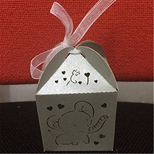 10Pcs Elephant Cut Hollow Carriage Favors Box Gifts Candy Bo