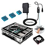 Miuzei Case for Raspberry Pi 3B+ with Fan Cooling and 3× Heatsinks, 5V 2.5A Power Supply, USB Cable with On/Off Switch for RPi 3b+ 3b 2b