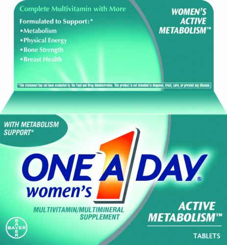 One-A-Day Women's Active Metabolism Multivitamin/Multilateral Supplement Tablets, 100-Count Bottles (Pack of 2)