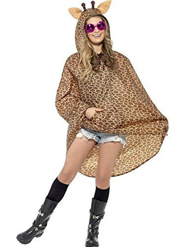 Smiffy's Adult Unisex Giraffe Party Poncho, Drawstring Bag, Party Ponchos, -