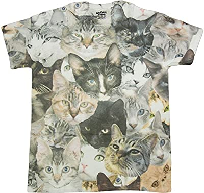 Cat Faces Print Sublimated Adult T-Shirt