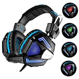 Gaming Headset, USB Stereo Wired Colorful LED PC Gaming Headphones Over Ear Earphones with Mic Revolution Volume Control Noise Canceling (New blue)