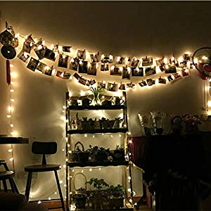 CUUCOR 20 LED Golden Photo Clip String Lights Battery Powered Photo Hanging Clips Fairy Light for Bedroom