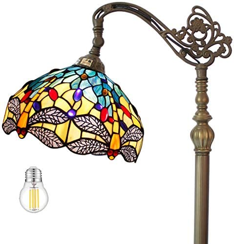 Tiffany Style Reading Floor Lamp Lighting LED Bulb Included W12H64 Inch Blue Yellow Stained Glass Dragonfly Lampshade Antique Adjustable Arched Resin Base Foot Switch Easy Assemble S128 WERFACTORY