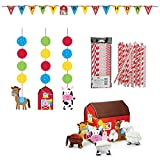Farmhouse Fun Party Supplies Decorations Supply Pack - Straws, Hanging Cutouts, Banner, and Centerpiece