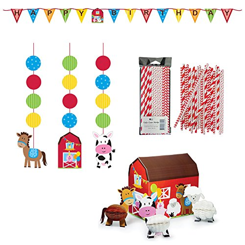 Farmhouse Fun Party Supplies Decorations Supply Pack - Straws, Hanging Cutouts, Banner, and Centerpiece by Cedar Crate Market