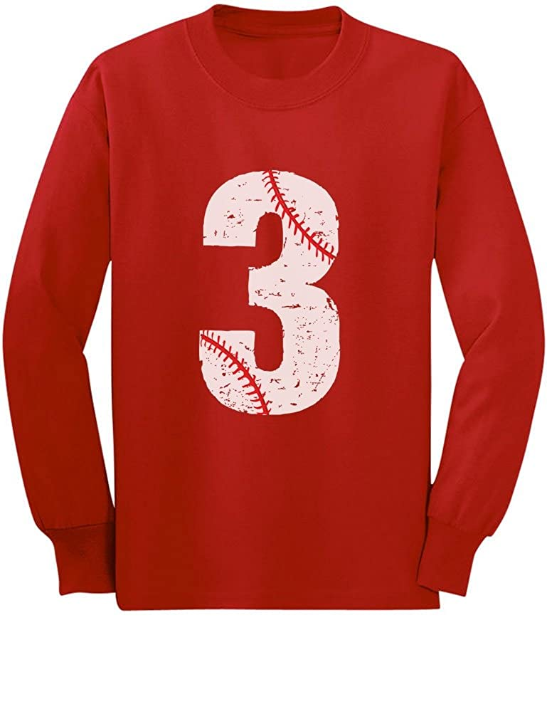 Baseball 3rd Birthday Gift for Three Year Old Toddler//Kids Long Sleeve T-Shirt