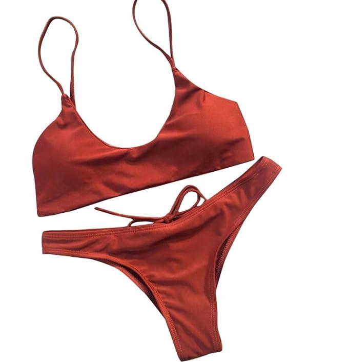7f149c036175 YanHoo Costume da Bagno Donna Bikini Costume da Bagno Push-up fasciato  Spiaggia, Slip