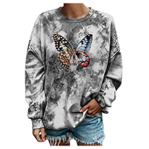 Janly Clearance Sale Long Sleeve Ladies Blouse , Ladies Fashion Round Neck Long Sleeve Butterfly Print Sweatshirt, for…
