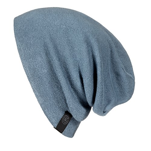 Evony Warm Slouchy Beanie Hat - Deliciously Soft Daily Beanie in Fine Knit (Blue Denim) -