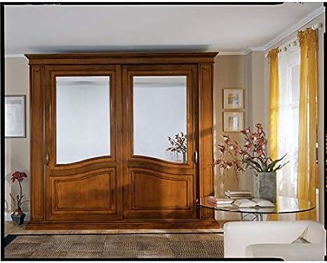 Armario de puertas correderas con espejo Madera masselloartigianale – como fotos: Amazon.es: Hogar