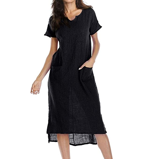 52ea485531b74 Women Summer Large Size Casual V-Colla Loose Pocket Waist Hem Asymmetrical  Dress (Black