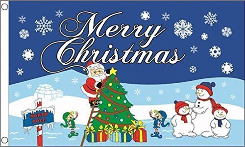 Ukflagshop 5Ft X 3Ft (150 X 90 Cm) Merry Christmas Santa North Pole 100% Polyester Material Flag Banner For Pub Club School Festival Business Party Decoration Christmas Decorations For Pubs
