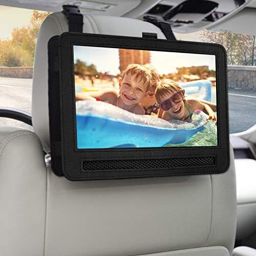 Car Headrest Mount Holder Strap Case for Swivel & Flip Style Portable DVD Player (10-10.5 inch) (Video Case Player)