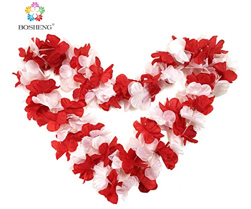 (BOSHENG Red&White Flower Leis Necklaces for Summer Party Event,Set of)