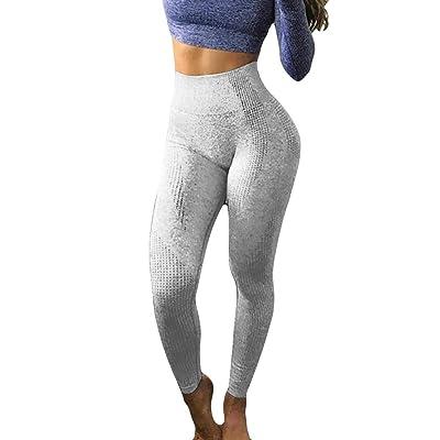 jin&Co Women High Waist Yoga Pants Tummy Control Wrokout Running Tight Stretch Yoga Capri Leggings: Clothing