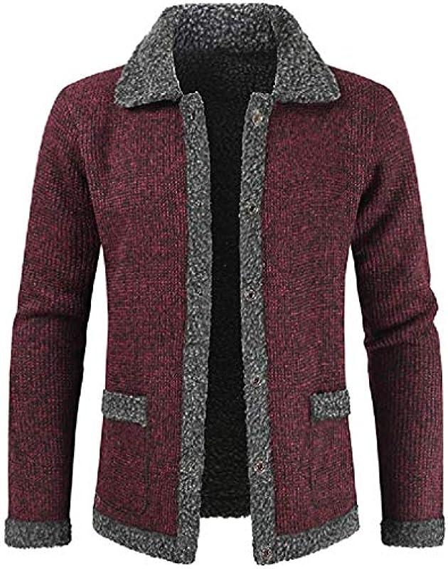 AMMA Men's Fall & Winter Single Breasted Knitted Faux Fur Lined Cardigan Coat Jacket Outerwear,Wine Red,M: Odzież