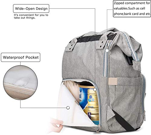 Lychee 20L Mommy Diaper Bag Baby Diaper Backpack for Girl Boy (Grey)