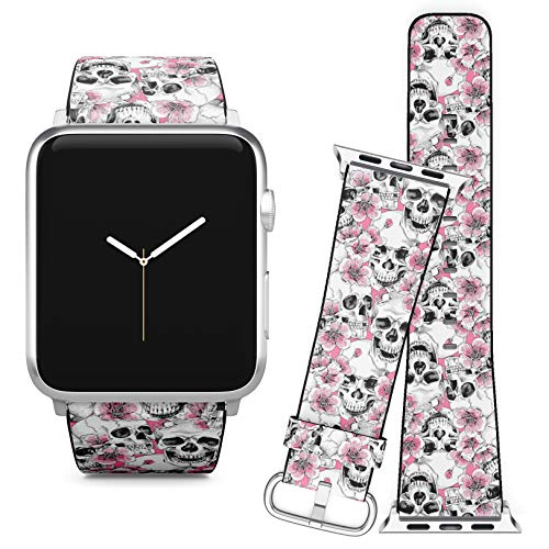 Compatible with Apple Watch (42/44 mm) // Soft Leather Replacement Bracelet Strap Wristband + Adapters // Skull Flowers