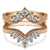 TwoBirch Chevron Style Ring Guard with Millgrained Edges and Filigree Cut Out Design with Cubic Zirconia in Rose Gold Plated Sterling Silver (0.74 ct. twt.)
