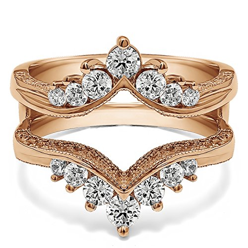 TwoBirch 0.74 ct. Cubic Zirconia Chevron Style Ring Guard with Millgrained Edges and Filigree Cut Out Design in Rose Gold Plated Sterling Silver (3/4 ct. twt.) by TwoBirch