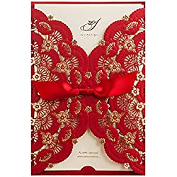 Wishmade 12X Red Color Gold Foil Laser Cut Lace Wedding Invitations Cards Engagement Birthday Party Bridal Shower Invitations with Envelope CW5113