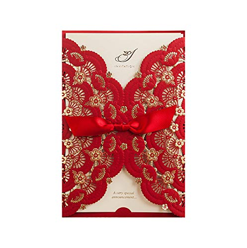 Wishmade 100X Red Color Gold Foil Laser Cut Lace Wedding Invitations Cards Engagement Birthday Party Bridal Shower Invitations with Envelope CW5113