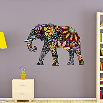 Flower elephant wall decal by style apply wall sticker vinyl wall art home decor wall mural sd3038 24x17