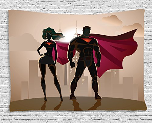 Superhero Tapestry Wall Hanging by Ambesonne, Superwoman and Man Heroes in City Fighting Crime Hot Couple in Costume Print, Bedroom Living Room Dorm Decor, 80 W X 60 L Inches, Beige Brown Magenta