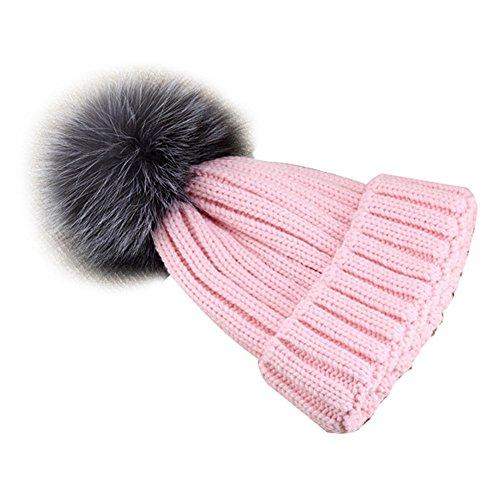 VamJump Women Winter Detachable Large Raccoon Fur Pom Pom Cap Knit Beanie Hat