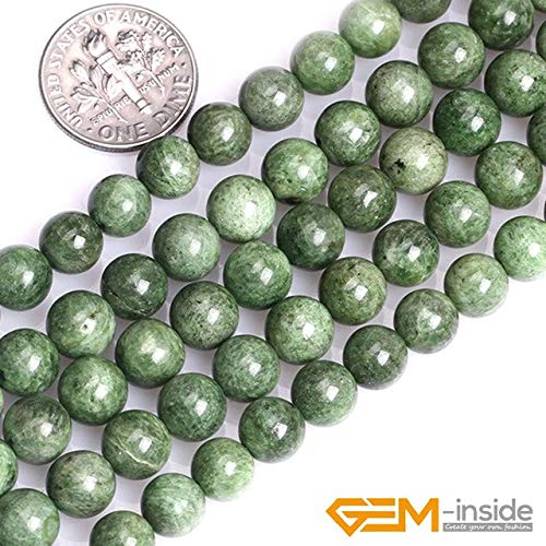 - Calvas 8mm 10mm 12mm 14mm Natural Green Diopside Stone Gem Stone Semi Precious Round Beads for Jewelry Making Strand 15 Inch - (Color: 8mm)