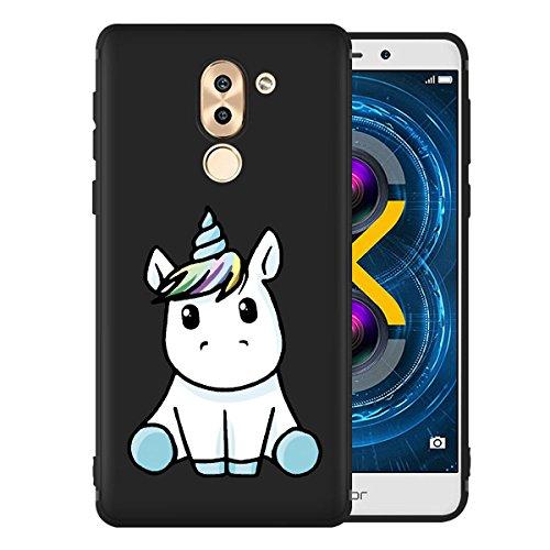 Funda para Huawei Mate 9 Lite / Honor 6X , IJIA Puro Negro Familia De Gato TPU Silicona Suave Cover Tapa Caso Parachoques Carcasa Cubierta Case para Huawei Mate 9 Lite / Honor 6X (5.5) Black-LF22