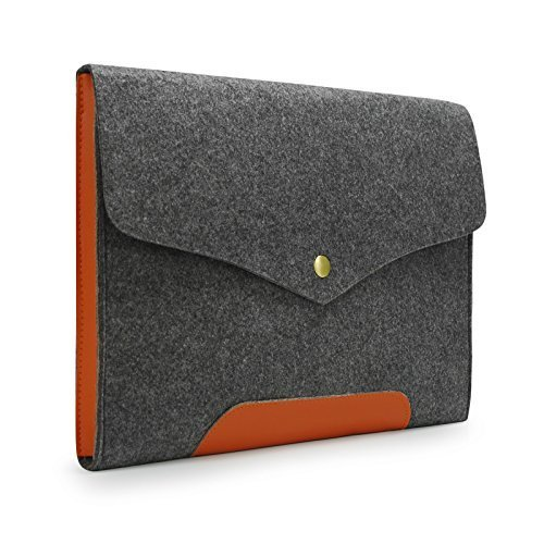 Sinoguo Gray Felt  Leather Case Sleeve Pouch for 11 Inch Macbook Air, Handmade Laptop Bag Holder Pouch with Magnetic Button for 11 Inch Macbook Air a…