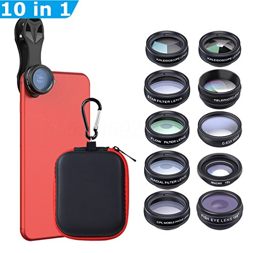 Apexel 10 in 1 Cell Phone Camera Lens Kit Wide Angle Lens & Macro Lens+Fisheye Lens+Telephoto Lens+CPL/Flow/Radial/Star Filter+Kaleidoscope 3/6 Lens for iPhone Samsung Sony and Most of Smartphone (Clip Radial)