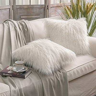 Phantoscope Set of 2 New Luxury Series Merino Style Faux Fur Throw Pillow Cushion Cover