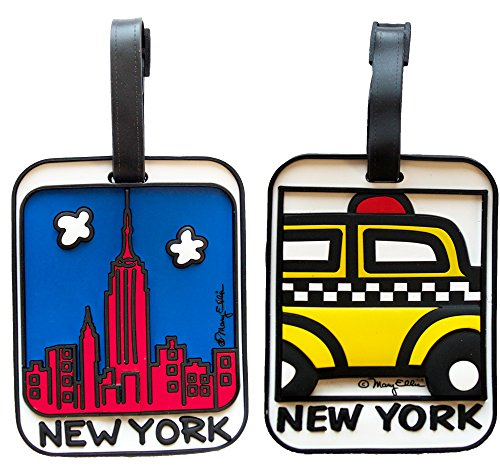 New York Luggage Tag Set of 2 Skyline and Taxi Cab 3-d Heavy Duty Bag Tags