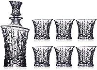SuDeLLong Juego de Vasos y Jarra de Whisky Whiskey Wine Glass Whiskey Decanter Set 1 PCS Bottle + 6 PCS Glasses Decanter Set (Color : Clear