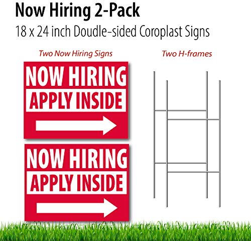 Now Hiring Signs for Business Event, Job Fair Sign, 18 x 24 inch - Set of 2 Double Sided CoroplastNow Hiring Apply Inside Jobs Wanted Yard Signs - Made in USA